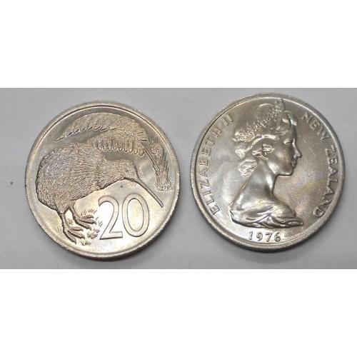 NEW ZEALAND 20 Cents 1976