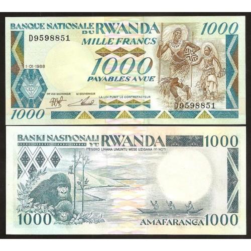 RWANDA 1000 Francs 1988