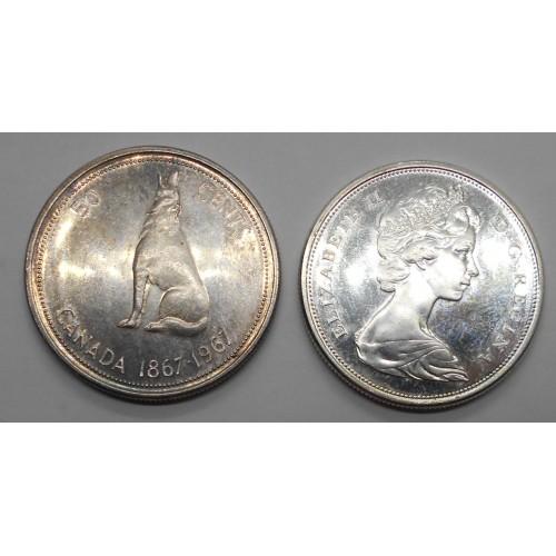 CANADA 50 Cents 1967 AG...
