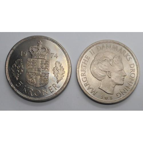 DENMARK 5 Kroner 1974