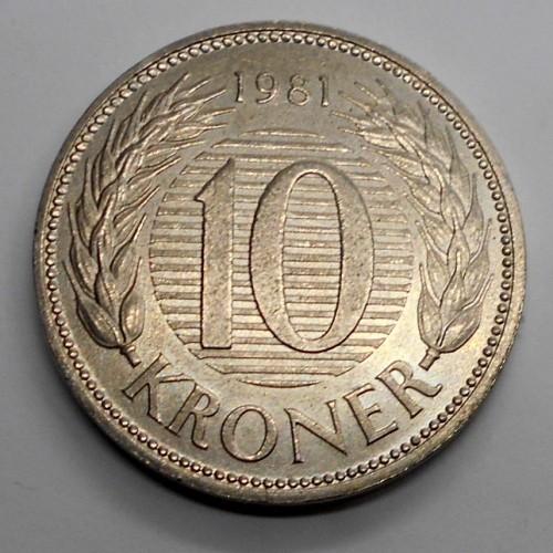 DENMARK 10 Kroner 1981...