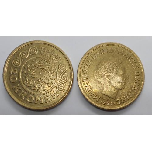 DENMARK 20 Kroner 1991