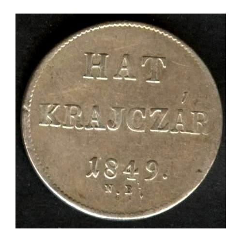 HUNGARY 6 Krajczar 1849 AG