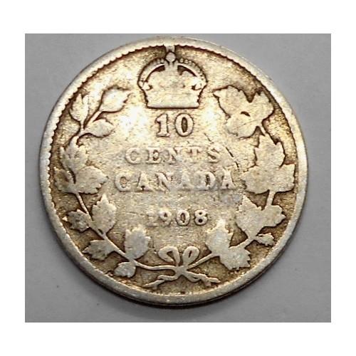 CANADA 10 Cents 1908 AG...