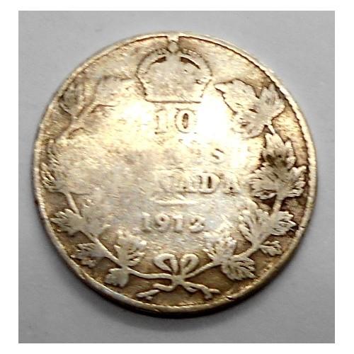 CANADA 10 Cents 1912 AG...