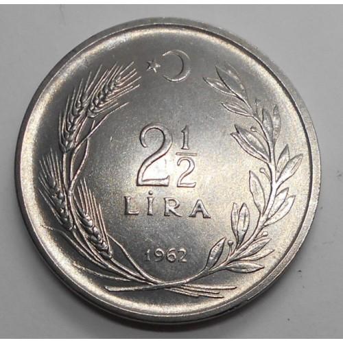 TURKEY 2 1/2 Lira 1962