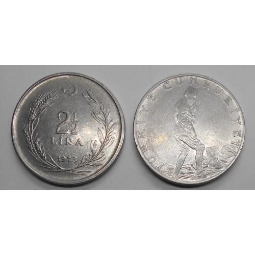 TURKEY 2 1/2 Lira 1973