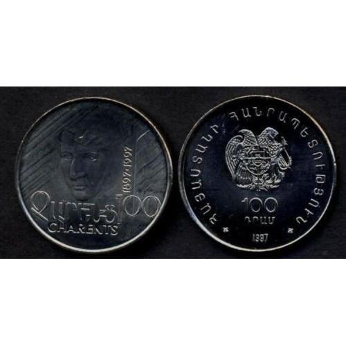 ARMENIA 100 Dram 1997 Charents