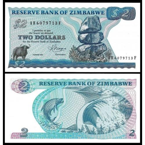 ZIMBABWE 2 Dollars 1983