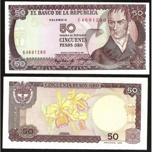COLOMBIA 50 Pesos Oro 1984