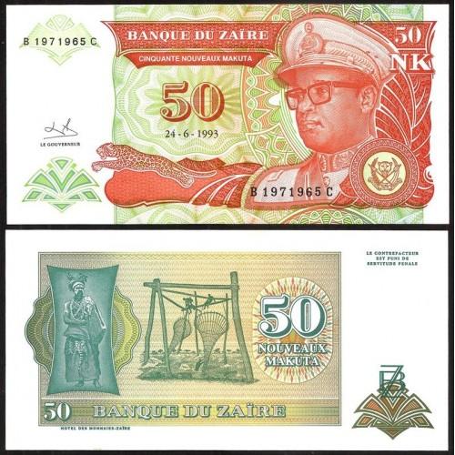 ZAIRE 50 Nouveaux Makuta 1993
