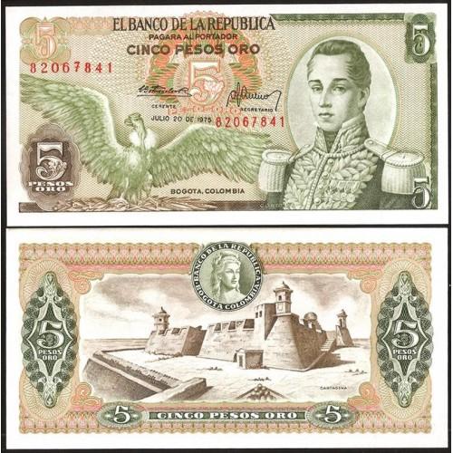 COLOMBIA 5 Pesos Oro 1975
