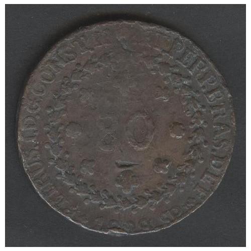 BRAZIL 80 Reis 1828 SP