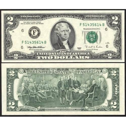 "USA 2 Dollars 1995 Series ""F"""
