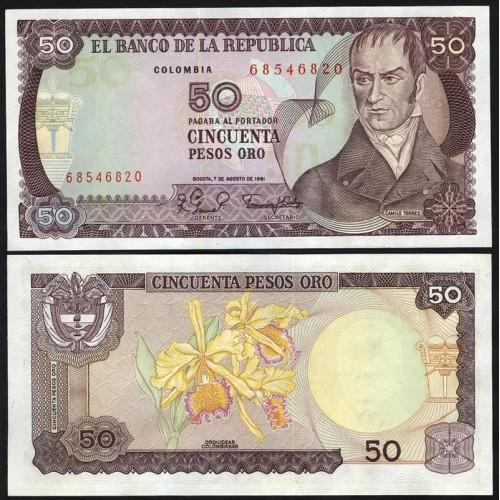 COLOMBIA 50 Pesos Oro 1981
