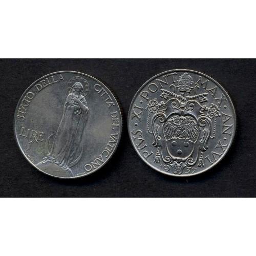 VATICANO Pio XI 1 Lira 1937