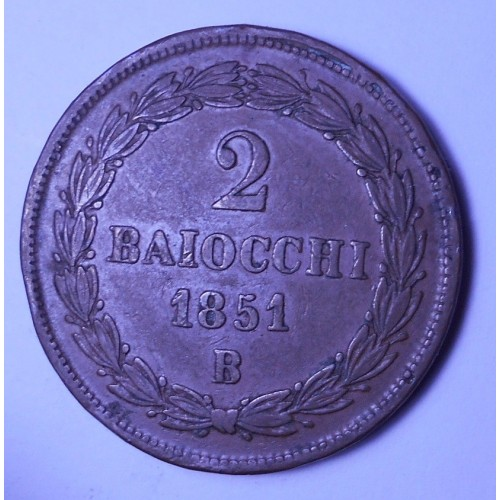 PIO IX 2 Baiocchi 1851 B...