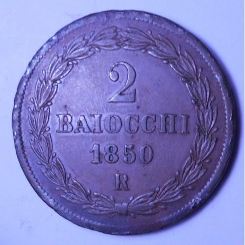 PIO IX 2 Baiocchi 1850 R...