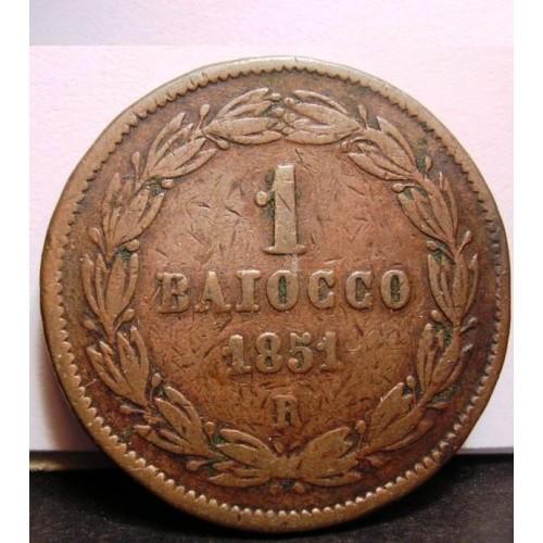 PIO IX 1 Baiocco 1851 R ANNO V