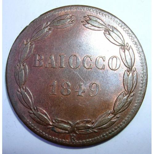 PIO IX 1 Baiocco 1849 R...