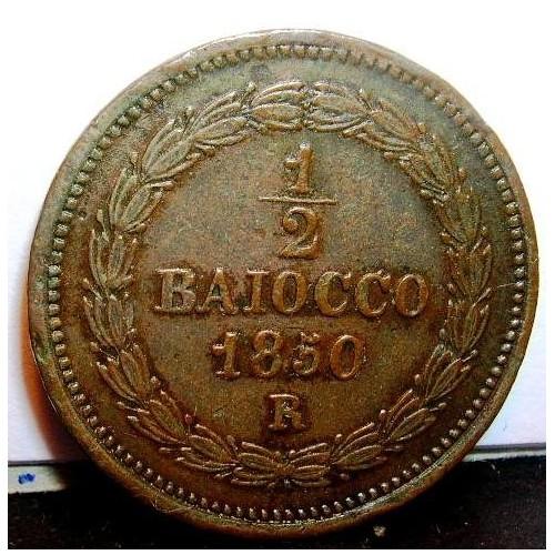 PIO IX 1/2 Baiocco 1850 R...