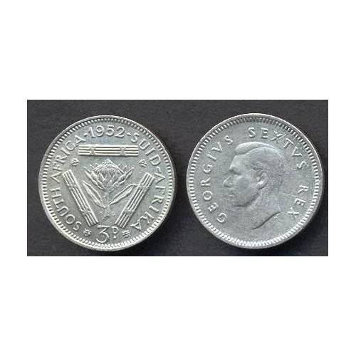 SOUTH AFRICA 3 Pence 1952 AG