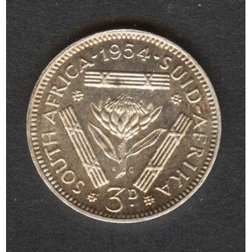SOUTH AFRICA 3 Pence 1954 AG