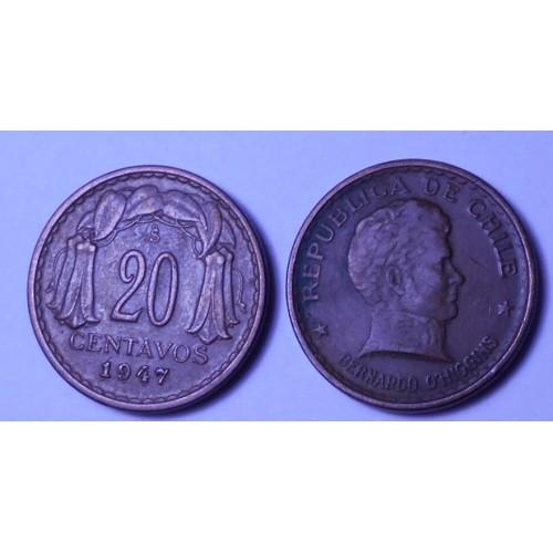 CHILE 20 Centavos 1947