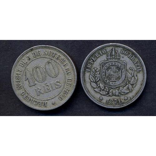 BRAZIL 100 Reis 1871