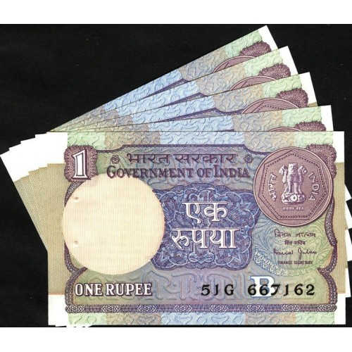 INDIA 1 Rupee 1990 x 5...
