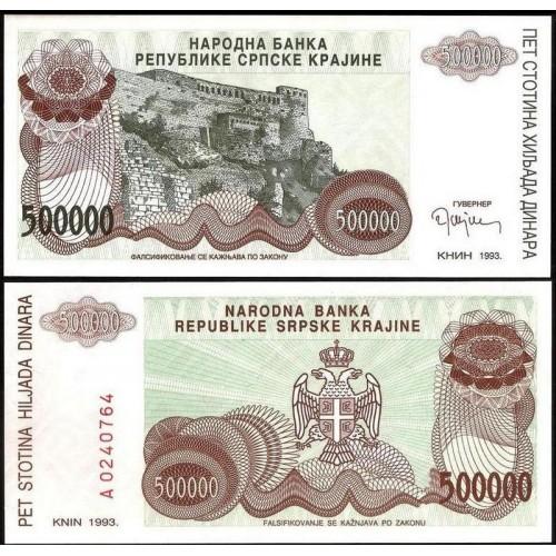 CROATIA 500.000 Dinara 1993