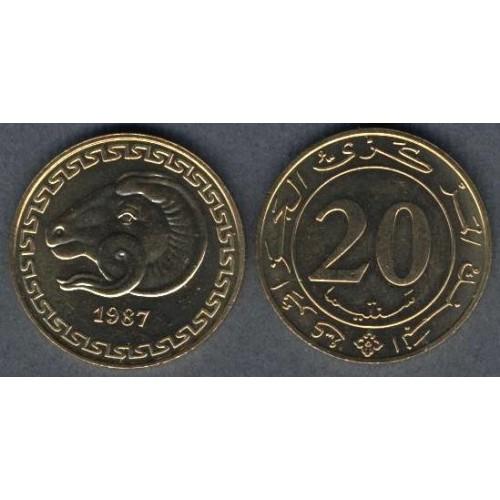 ALGERIA 20 Centimes 1987 FAO