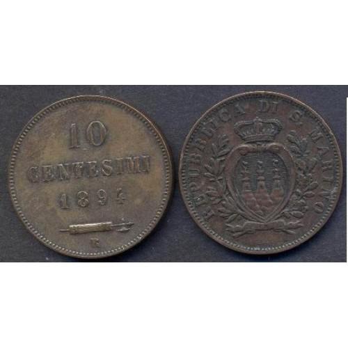 SAN MARINO 10 Centesimi 1894
