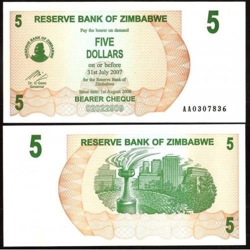 ZIMBABWE 5 Dollars 2006
