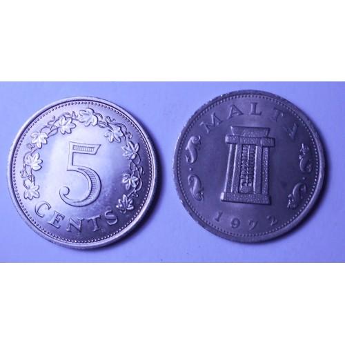 MALTA 5 Cents 1972