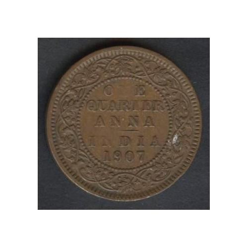 BRITISH INDIA 1/4 Anna 1907