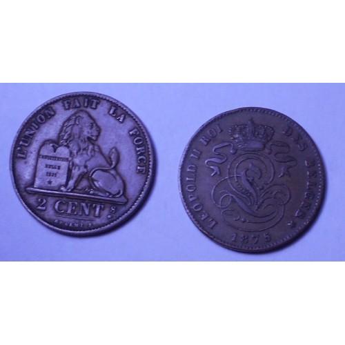 BELGIUM 2 Centimes 1875