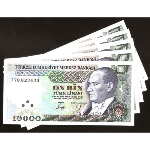 TURKEY Lot of 5 Banknotes...