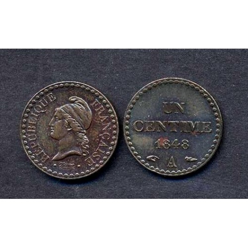 FRANCE 1 Centime 1848 A