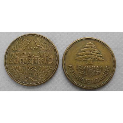 LEBANON 25 Piastres 1952