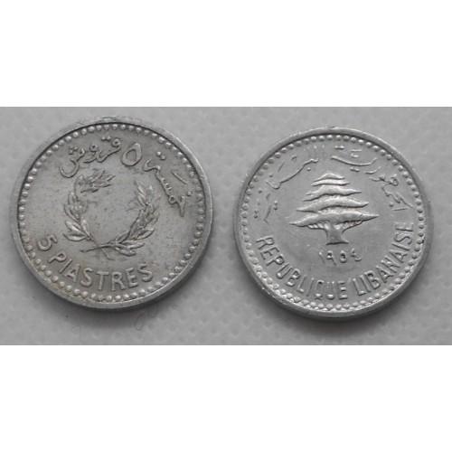 LEBANON 5 Piastres 1954