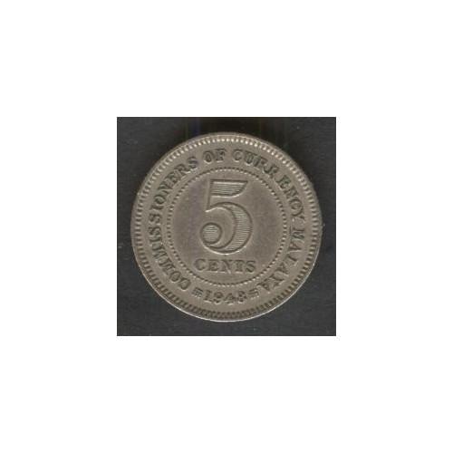 MALAYA 5 Cents 1948