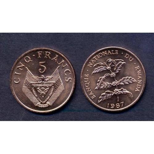 RWANDA 5 Francs 1987