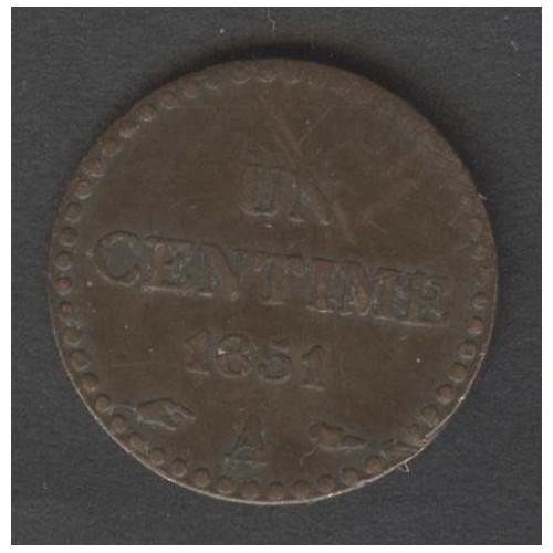 FRANCE 1 Centime 1851