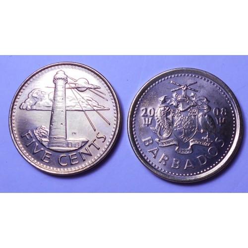 BARBADOS 5 Cents 2008