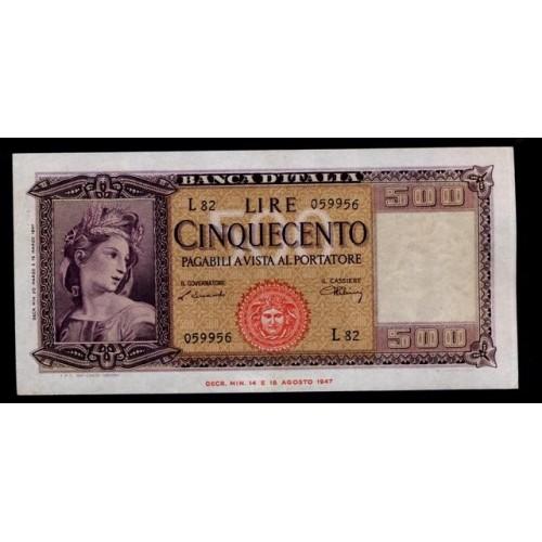 500 LIRE 1947 ITALIA ORNATA...