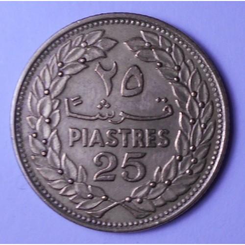 LEBANON 25 Piastres 1969