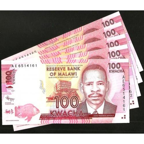 MALAWI 100 Kwacha 2012 x 5...