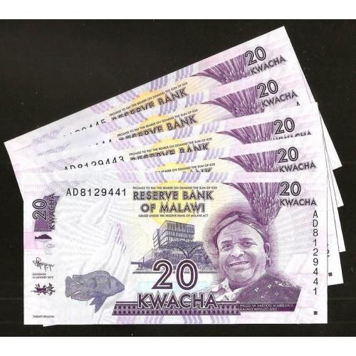 MALAWI 20 Kwacha 2012 x 5...