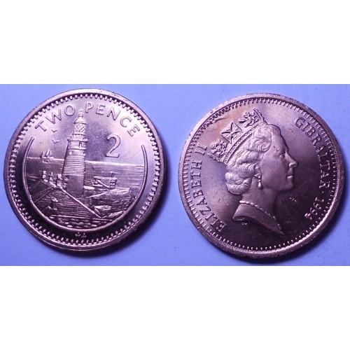 GIBRALTAR 2 Pence 1994 AA